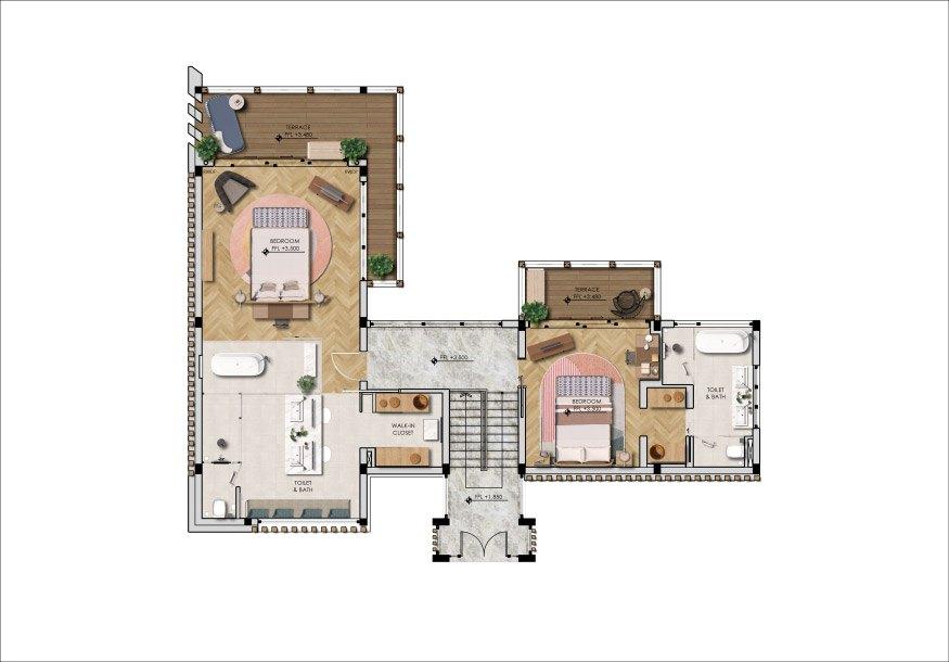 Mặt bằng tầng 3 mẫu biệt thự Rừng