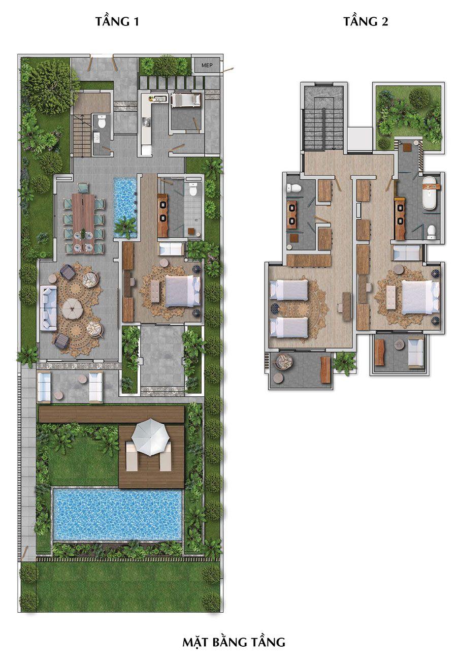 Mặt Bằng Tầng Biệt Thự Bãi Kem Sun Premier Village Kem Beach Resort – Mẫu B.
