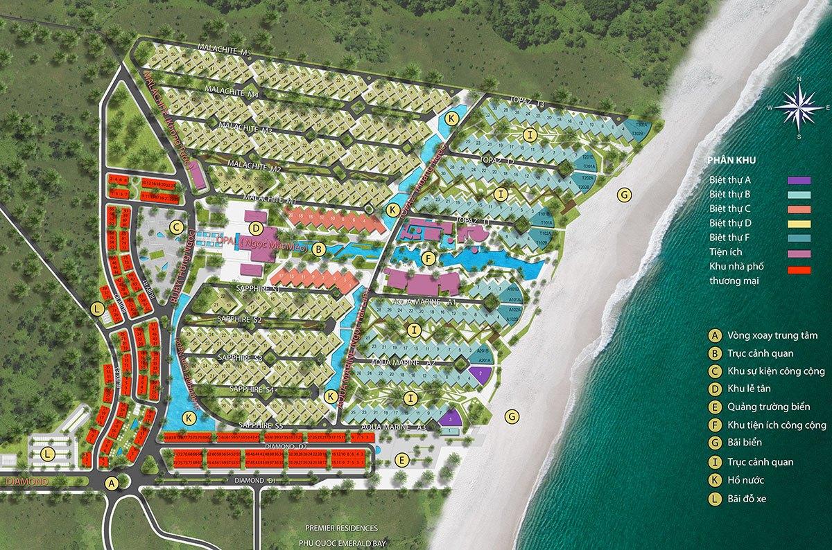 Mặt Bằng Tổng Thể Biệt Thự Biển Sun Premier Village Kem Beach Resort.